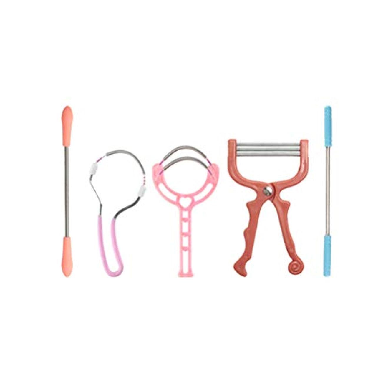 アコー不条理論理Heallily 顔の毛リムーバー脱毛キットステンレス製の脱毛器は、上唇、あご、顔、または屋外の家の旅行のための首脱毛ツールの毛シェーバーに直面している(5個)