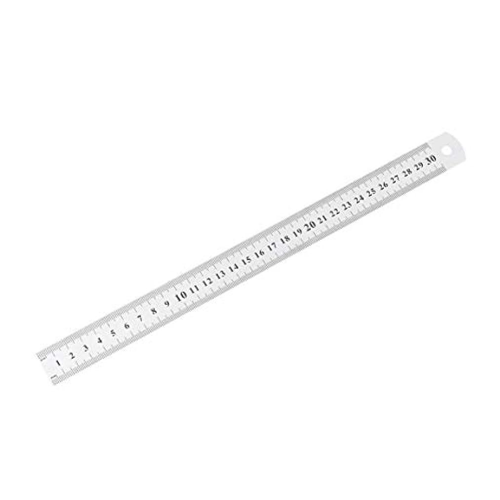 市の中心部肘アナウンサーステンレス鋼の金属製の定規30センチまっすぐな定規測定両面ミシン足縫製&スクール文具 - 銀色