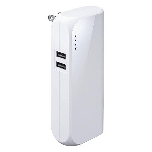 サンワダイレクト モバイルバッテリー 折畳式プラグ 5200mAh 2ポート「追っかけ充電」 残量LED 最大合計2.4A iPhone iPad 対応 PSE対応 ホワイト 700-BTL034