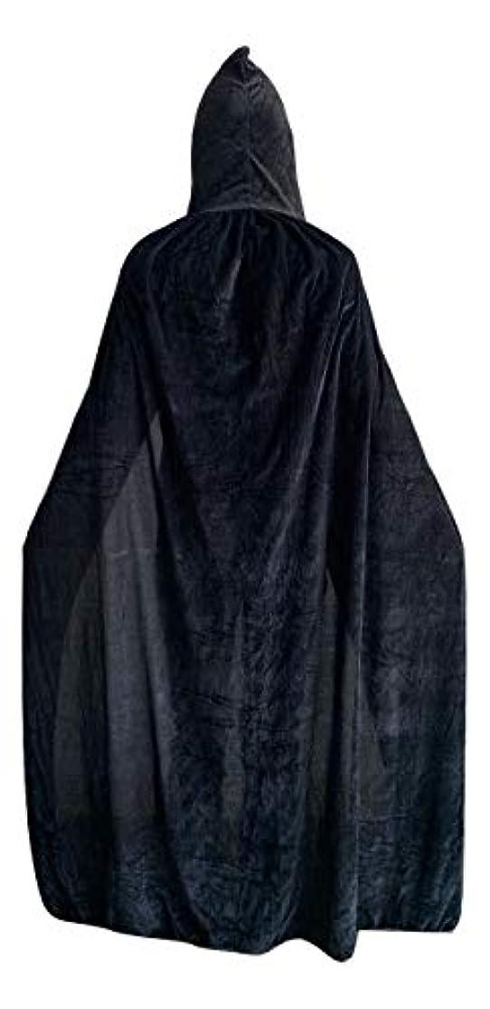 プラットフォーム戦いプレゼンelledk マント 黒 フード付き ブラック ローブ コスプレ ハロウィン コスチューム ベルベット調 (L(肩下150cm))