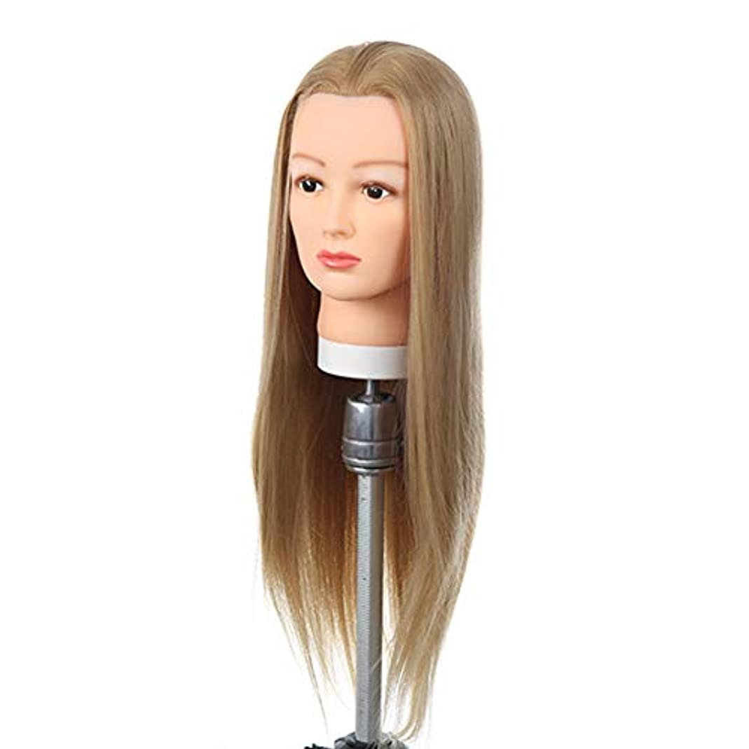 真実解明する増加する高温シルクヘアエクササイズヘッド理髪店トリムヘアトレーニングヘッドブライダルメイクスタイリングヘアモデルダミーヘッド