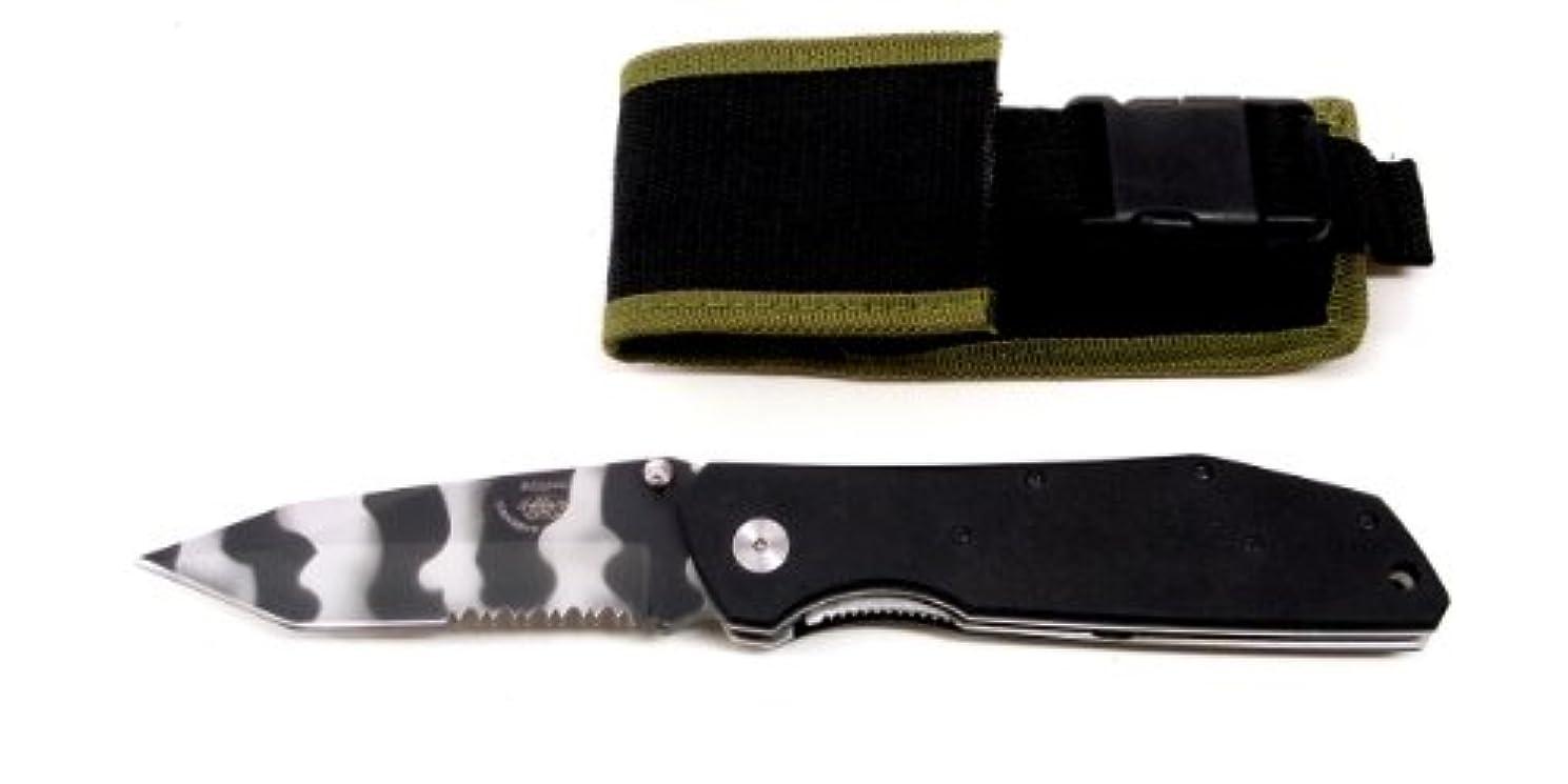 波印象的期限切れブルドッグナイフ BULLDOGS KNIVES BD-2 XM-8 ブラザーI チタンカモ ハンドル:16cm、G10、クリップ付、ナイロンシース付