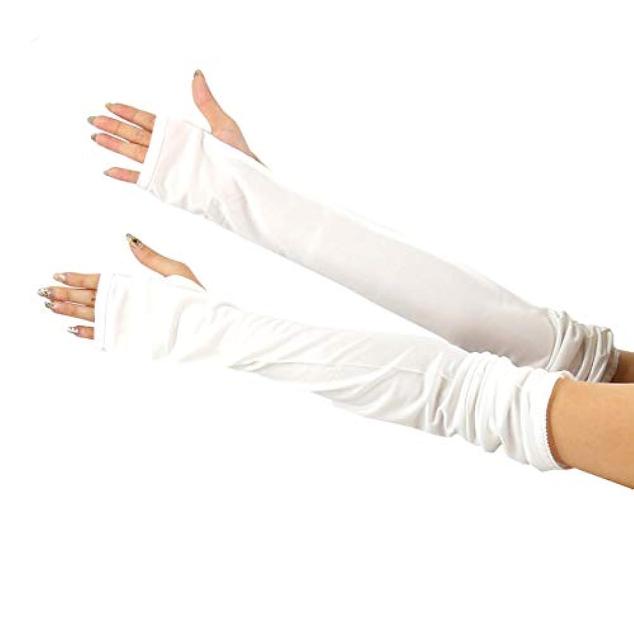 アルミニウムキャンバス力学[スリーピングシープ] ひんやり サラサラ シルク100% UV 手袋 ハンドケア UV 手袋 手のお手入れに (M, ロング指無しホワイト)