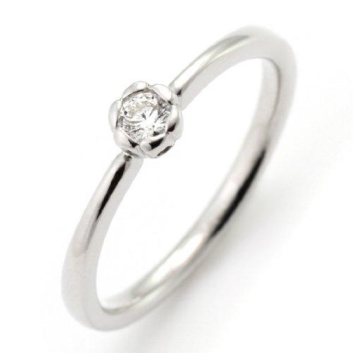 SUEHIRO ダイヤモンド リング 0.1カラット プラチナ ダイヤモンドリング 指輪 花びら 婚約指輪 エンゲージリング
