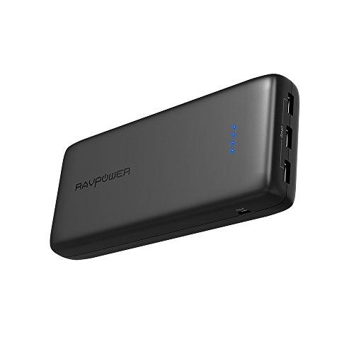 モバイルバッテリー RAVPower 32000mAh 超大容量 3ポート ポータブル充電器 急速充電(2.4A入力、合計6A出力、高品質リチウムポリマー電池使用)スマホ & タブレット 対応 RP-PB064
