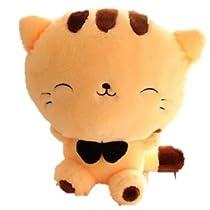 可愛らしい ネコ ニャン ぬいぐるみ スマイル 癒し系 抱き枕 イエロー 黄色 動物 猫 カワイイ 肉球 (座高28cm)