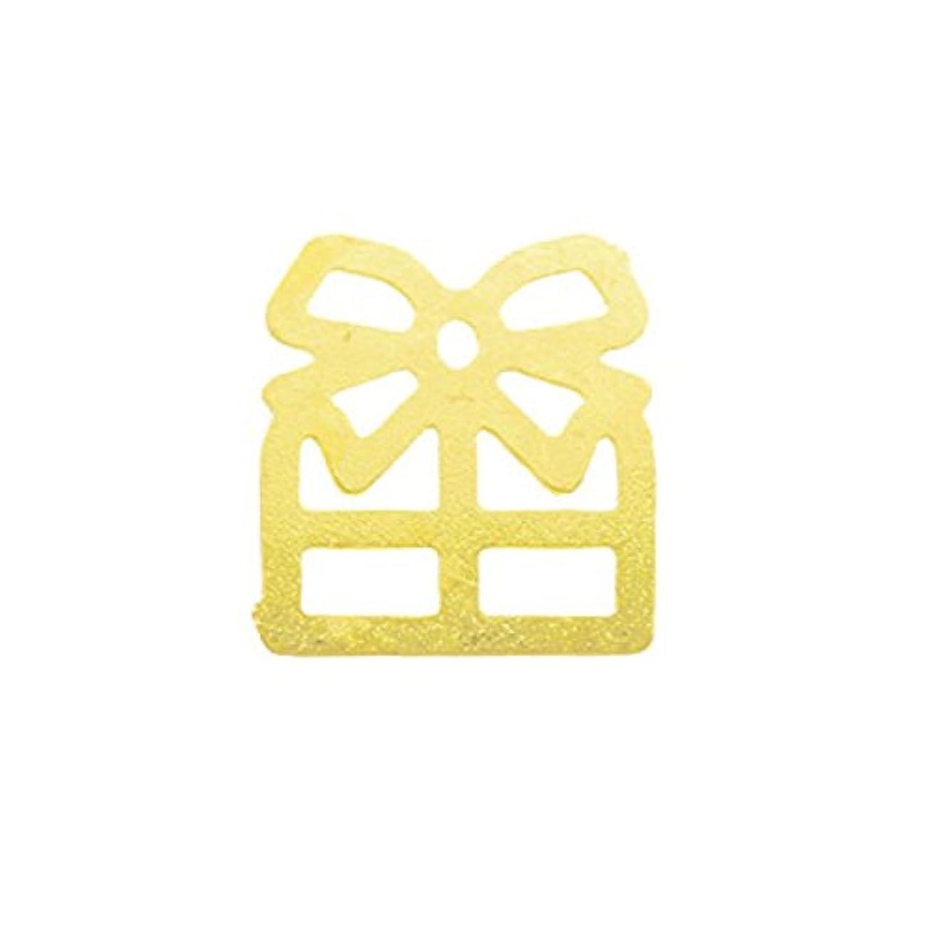 メタルプレート(ネイルストーン デコ) プレゼント ゴールド (30個入り)(ネイル用品)