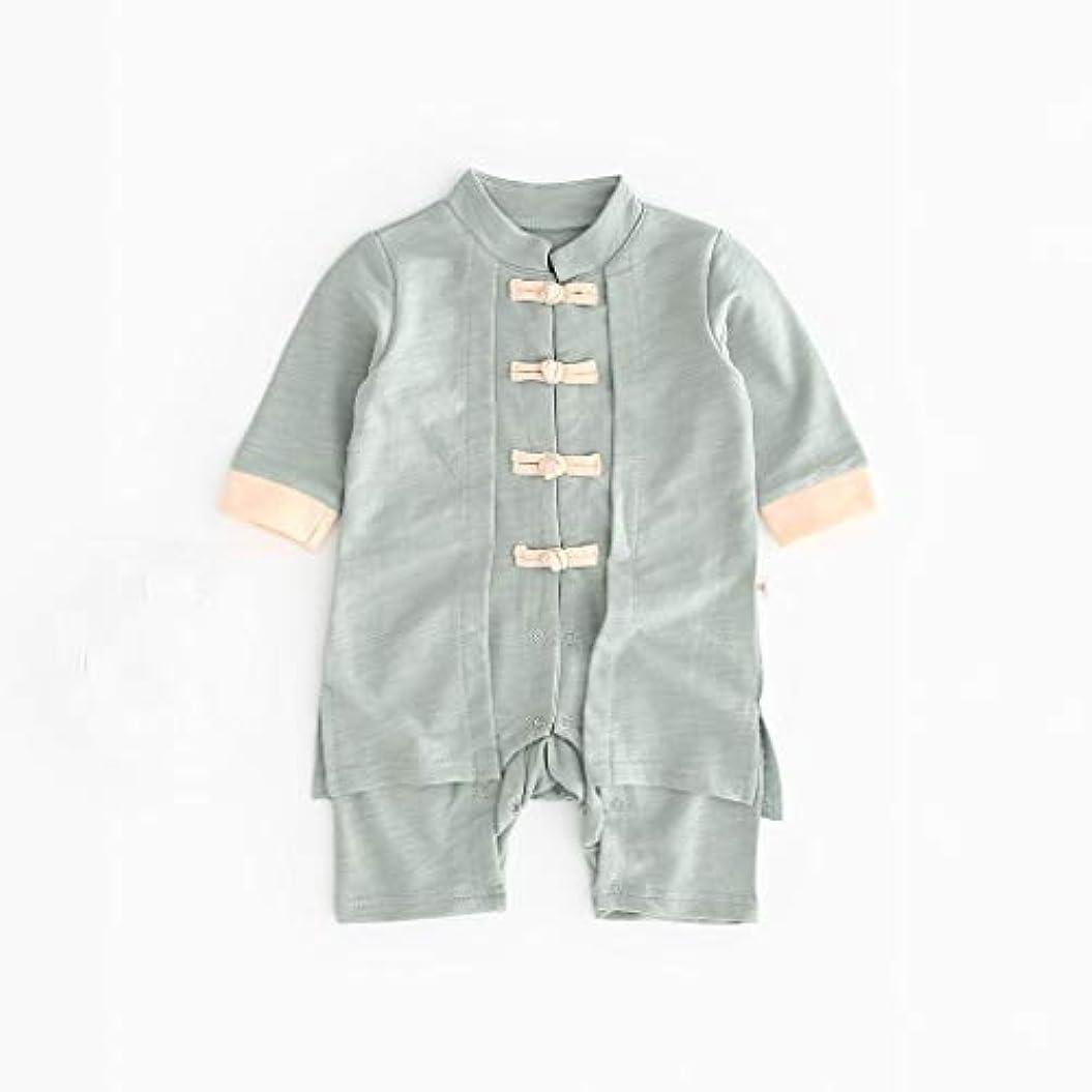かわいいボタン漢風生まれたばかりの赤ちゃん男の子女の子ボタン固体ロンパースジャンプスーツ着物服パジャマ女の子男の子レターストライプ長袖コットンロンパースジャンプスーツ