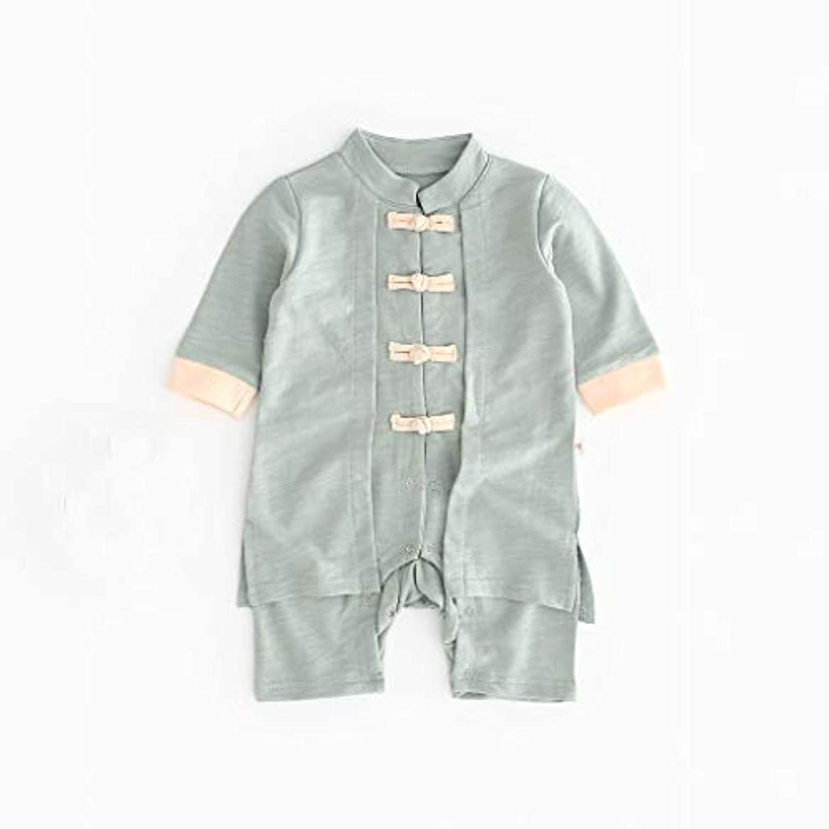 おじさん縮約十二かわいいボタン漢風生まれたばかりの赤ちゃん男の子女の子ボタン固体ロンパースジャンプスーツ着物服パジャマ女の子男の子レターストライプ長袖コットンロンパースジャンプスーツ