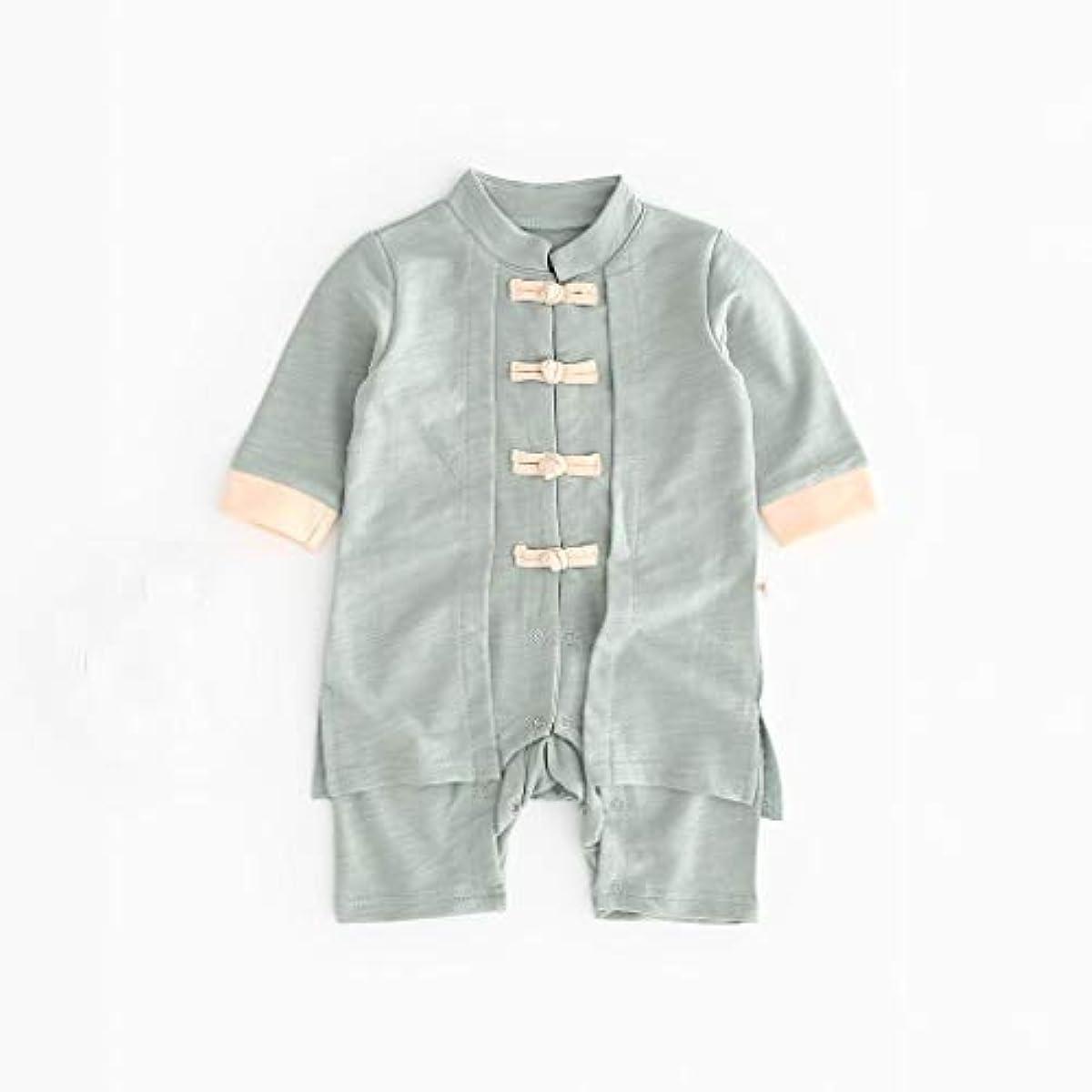 湖予言する独特のかわいいボタン漢風生まれたばかりの赤ちゃん男の子女の子ボタン固体ロンパースジャンプスーツ着物服パジャマ女の子男の子レターストライプ長袖コットンロンパースジャンプスーツ