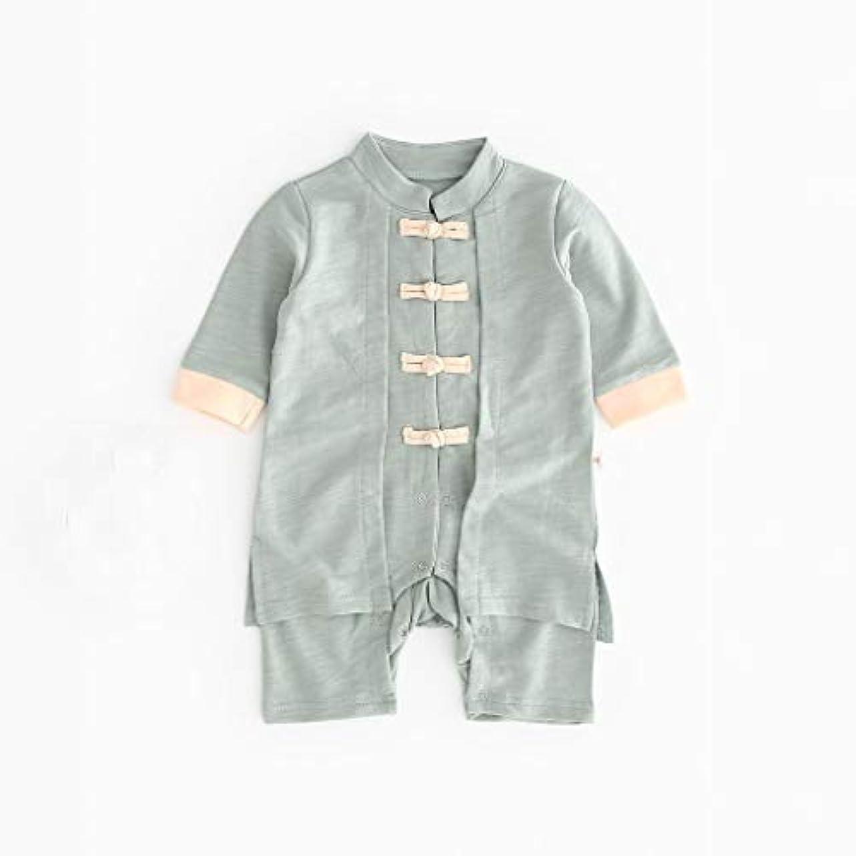 広々欺く名目上のかわいいボタン漢風生まれたばかりの赤ちゃん男の子女の子ボタン固体ロンパースジャンプスーツ着物服パジャマ女の子男の子レターストライプ長袖コットンロンパースジャンプスーツ