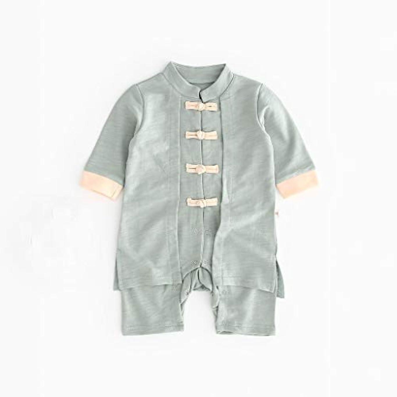 知り合いになる寛大なが欲しいかわいいボタン漢風生まれたばかりの赤ちゃん男の子女の子ボタン固体ロンパースジャンプスーツ着物服パジャマ女の子男の子レターストライプ長袖コットンロンパースジャンプスーツ