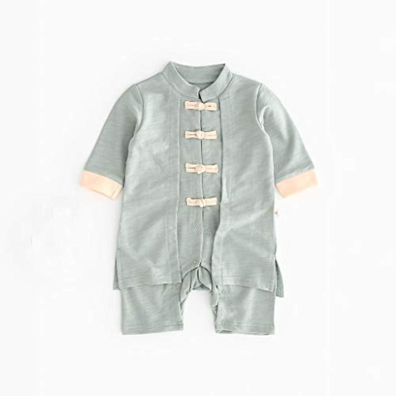 ゆるく忠実に魔法かわいいボタン漢風生まれたばかりの赤ちゃん男の子女の子ボタン固体ロンパースジャンプスーツ着物服パジャマ女の子男の子レターストライプ長袖コットンロンパースジャンプスーツ