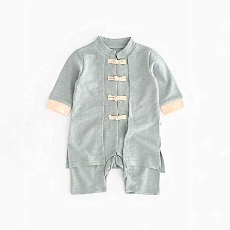 不利控えめな船員かわいいボタン漢風生まれたばかりの赤ちゃん男の子女の子ボタン固体ロンパースジャンプスーツ着物服パジャマ女の子男の子レターストライプ長袖コットンロンパースジャンプスーツ