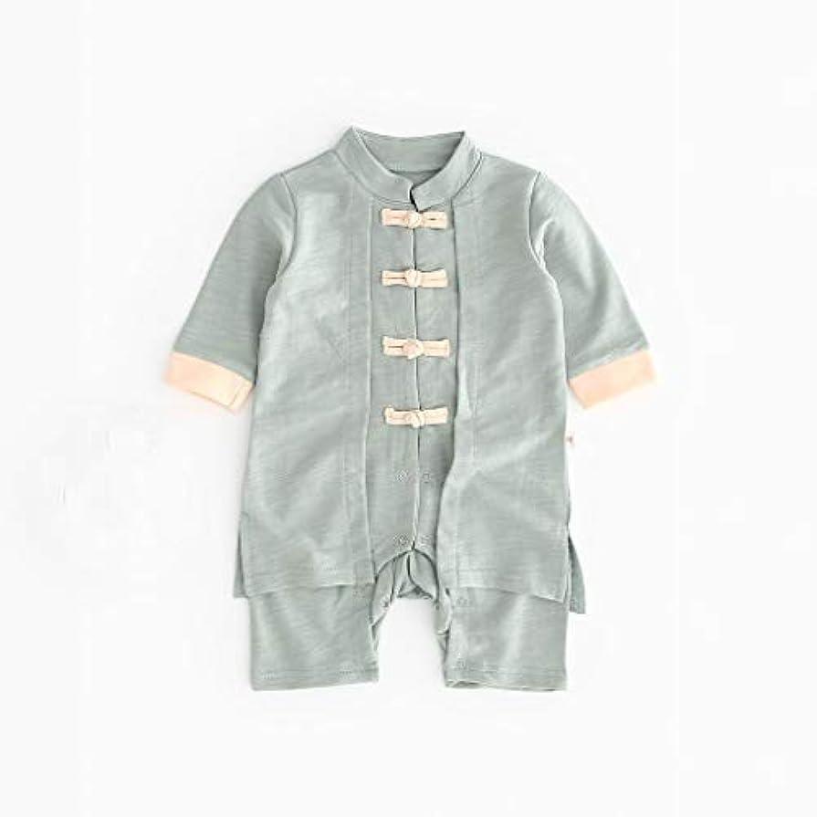 試す寸法協力的かわいいボタン漢風生まれたばかりの赤ちゃん男の子女の子ボタン固体ロンパースジャンプスーツ着物服パジャマ女の子男の子レターストライプ長袖コットンロンパースジャンプスーツ
