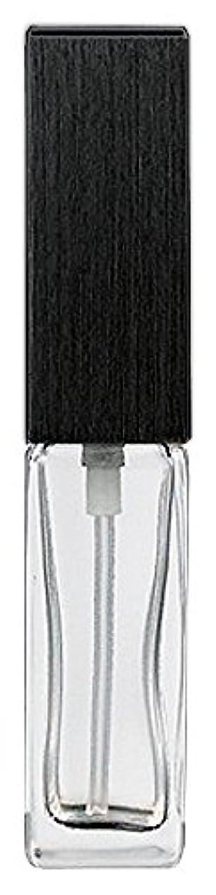 はねかける豊富ステレオ16494 メンズアトマイザー 角ビン クリア キャップ ヘアラインブラック