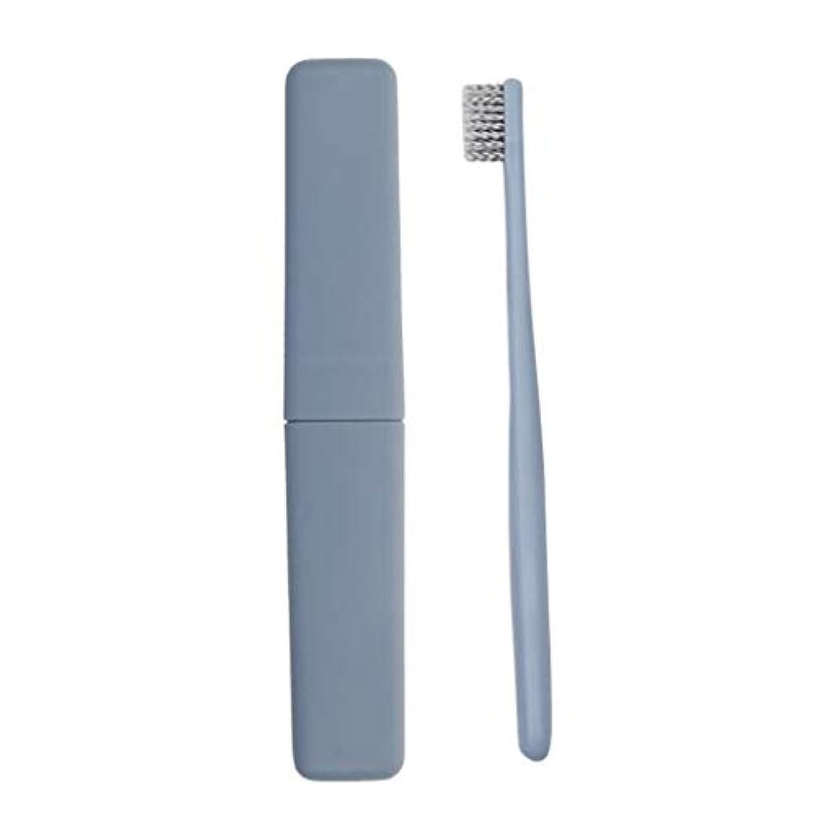 麦芽ビバ機構12パック手動歯ブラシソフトアダルトディープクリーニング歯ブラシカバー旅行ポータブル使い捨て歯ブラシ (色 : 青)