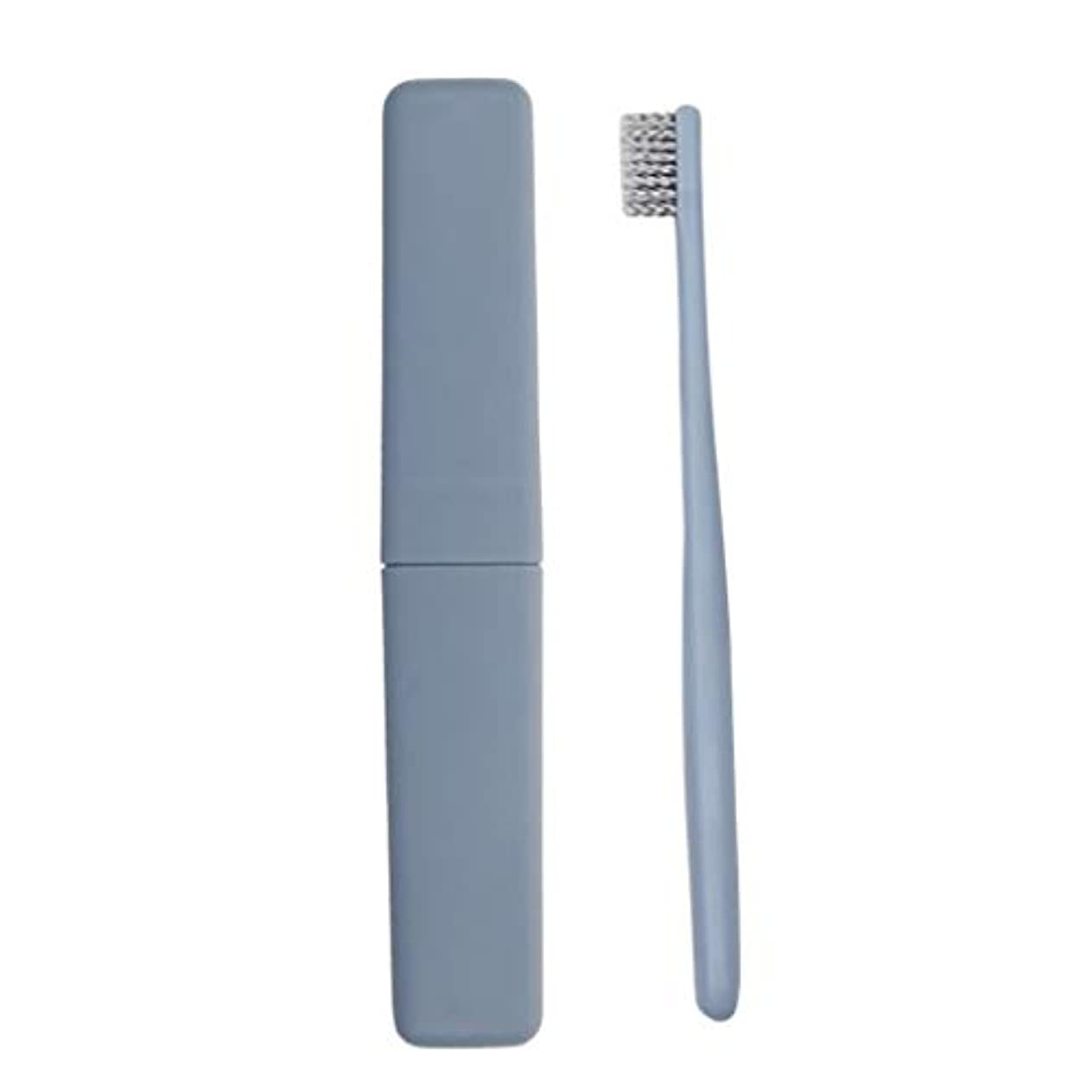 十分にペフミュージカル12パック手動歯ブラシソフトアダルトディープクリーニング歯ブラシカバー旅行ポータブル使い捨て歯ブラシ (色 : 青)