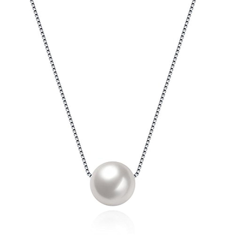 Rockyu ジュエリー アクセサリー ネックレス パール レディース シンプル 925 純銀 ペンダント 真珠 ファッション エッジ カラー メンズ プレゼント