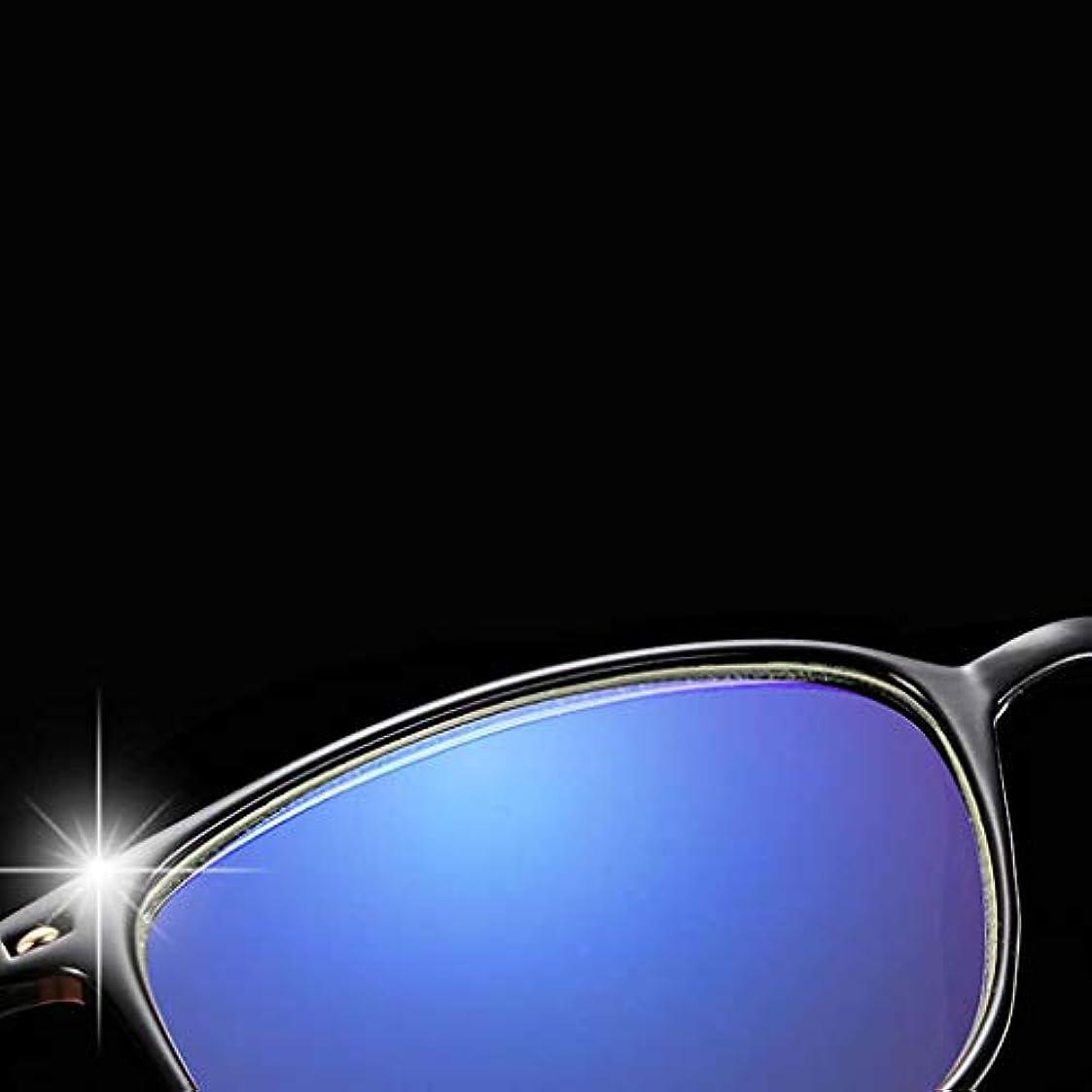 アンチ青ライト老眼鏡,男のための読者 抗疲労 PC レンズ ステンレス フレーム シンプルで快適 コンピューターの読者-黒 +4.0