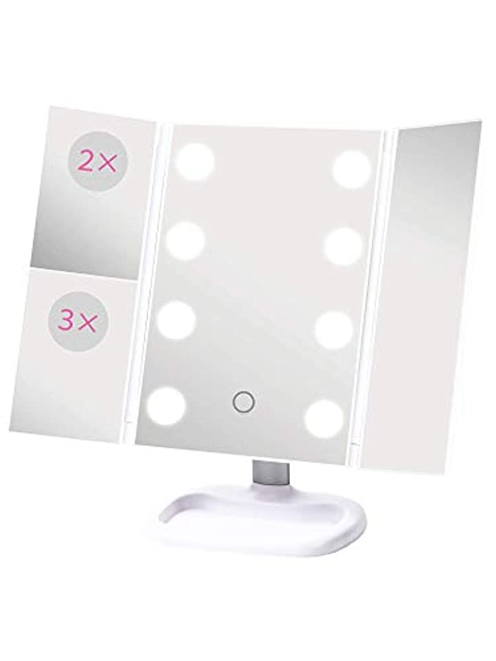 仮定するシャッフル符号S.Beauty 三面鏡 LEDライト付き2WAY卓上ミラー 軽量薄型モデル