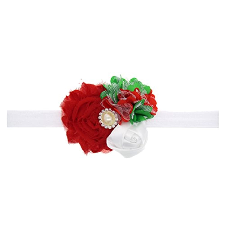 Zhhlinyuan ベビー小物 Kids Toddler Silk Flower&Faux Pearl Headband Headdress Hairband ヘアアクセサリ for Baby Girl Christmas