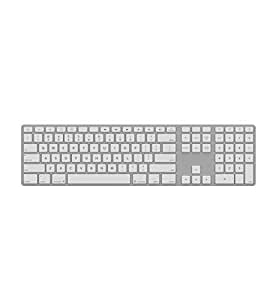 Matias FK418BTLS Backlit Bluetooth Wireless Aluminum Keyboard with Numeric Keypad and 4-Device Sync - Compatible with Mac, iPhone, iPad, Android and Windows PC (Silver/White) - Blucoil Edition [並行輸入品]