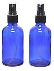 遮光瓶 蓄圧式ミストのスプレーボトル 100ml コバルトブルー / ( 硝子製?アトマイザー )ブラックヘッド × 2本セット / アロマスプレー用