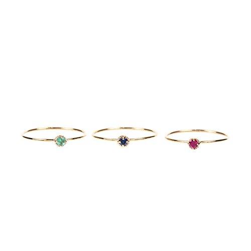 """[해외]K10 골드 핑키 링 """"원석이 빛나는 디자인""""/K10 Gold pin key ring """"color stone shining design"""""""