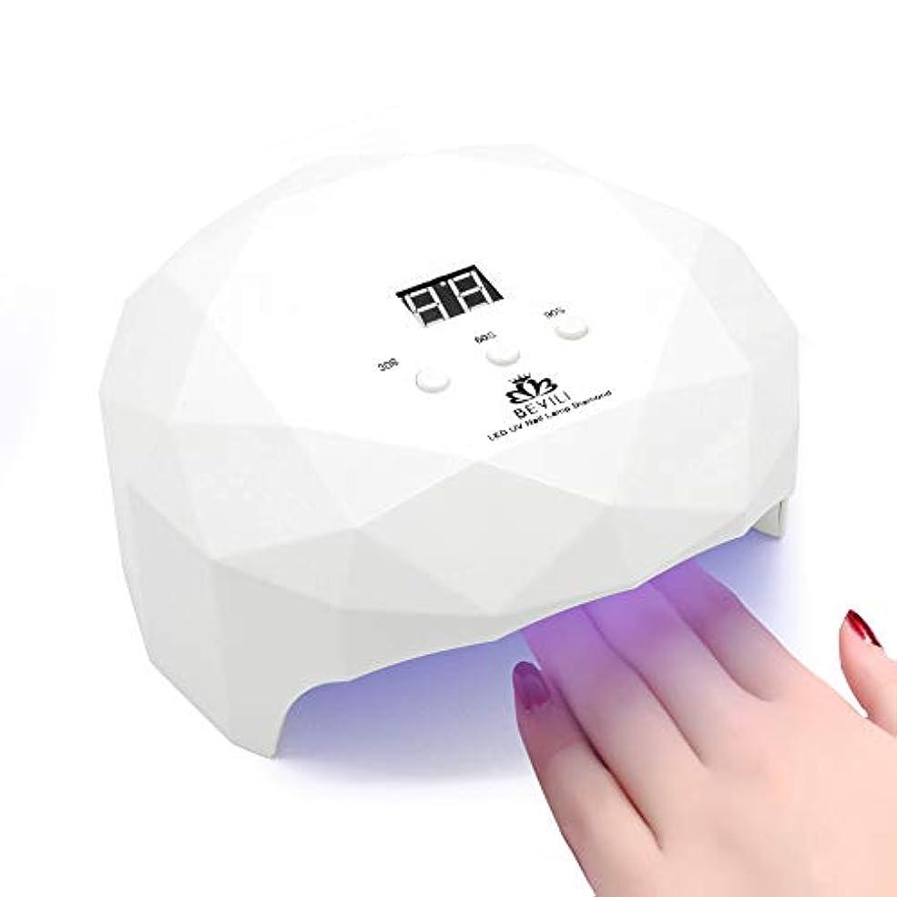花束精算母音2018最新版 LEDネイルドライヤー 36W 自動センサー 3段階タイマー設定 Laintran 12LED UVライト高速硬化ジェルネイルライトUVとLEDダブルライト ジェルネイル用 ホワイト (ホワイト)