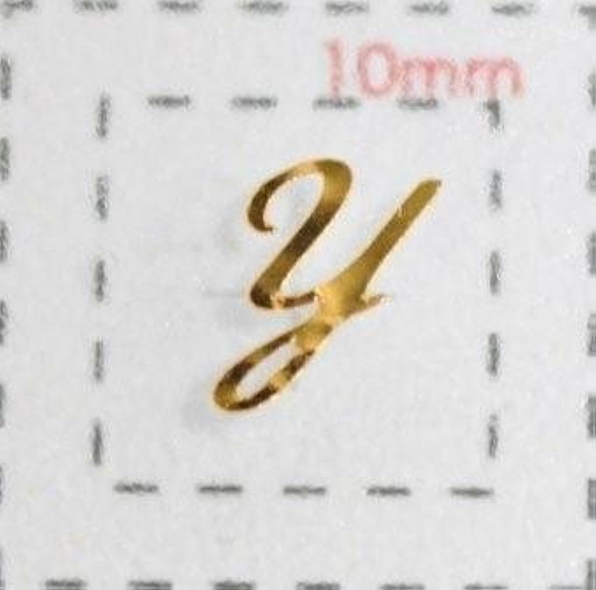 女王ボタンチューリップNameネイルシール【アルファベット?イニシャル】大文字ゴールド( Y )1シート9枚入