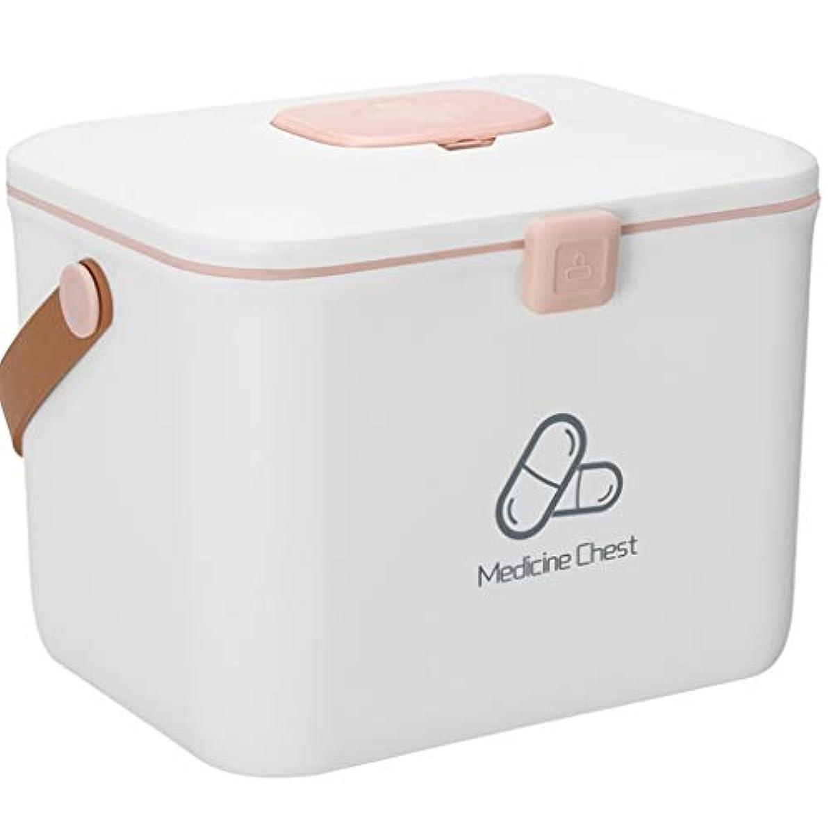 メディア失効ハック応急処置ケース薬箱ホームサイズ大容量ホームポータブル薬収納ボックス ZHAOSHUNLI (Color : White, Size : L)