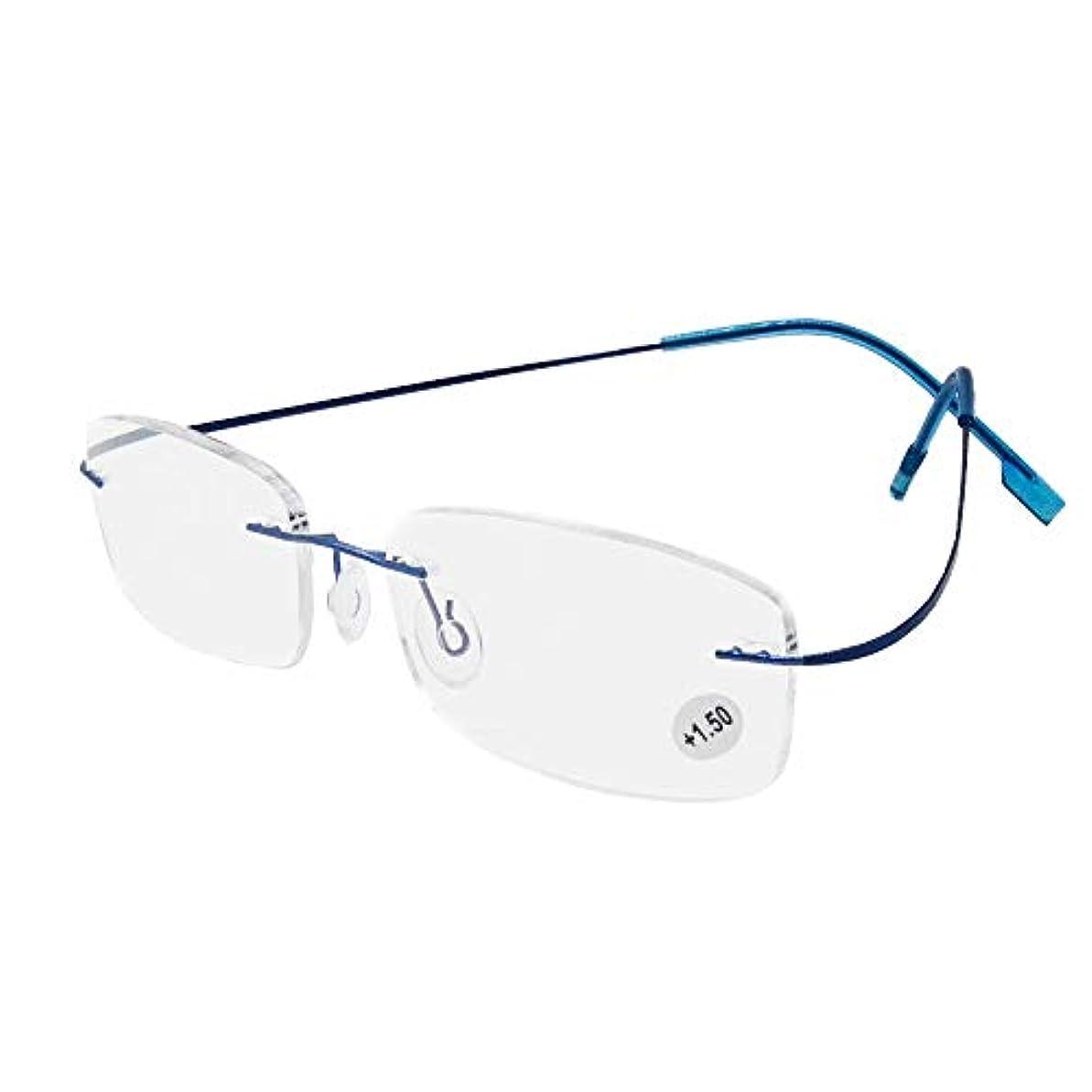 復活確保する名誉ある超軽量い リーディンググラス 老眼鏡 シニアグラス 枠なし 超弾性 柔らかい フレーム (ブルー, 度数+3.50)