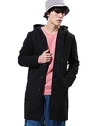 JIGGYS SHOP チェスターコート メンズ ステンカラー ロングコート フーデッドコート 厚手 秋冬 アウター ジャケット