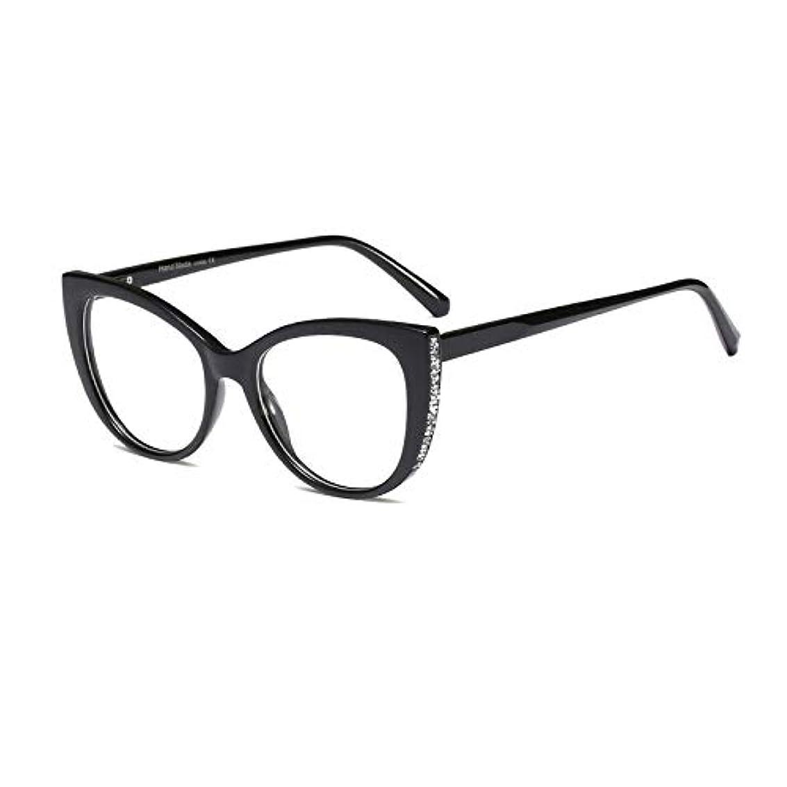 圧縮するトムオードリース鋼キャットアイ老眼鏡、スタイリッシュな女性用大型フレーム老眼鏡、スプリングミラー脚、Hd透明レンズ、複数色