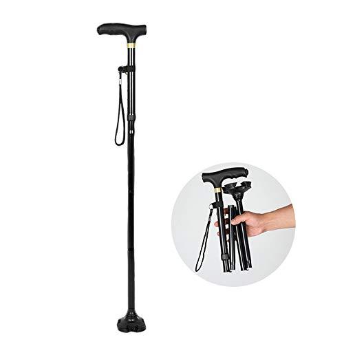 杖 折りたたみ ステッキ 自立伸縮杖 4点杖 LEDライト ...