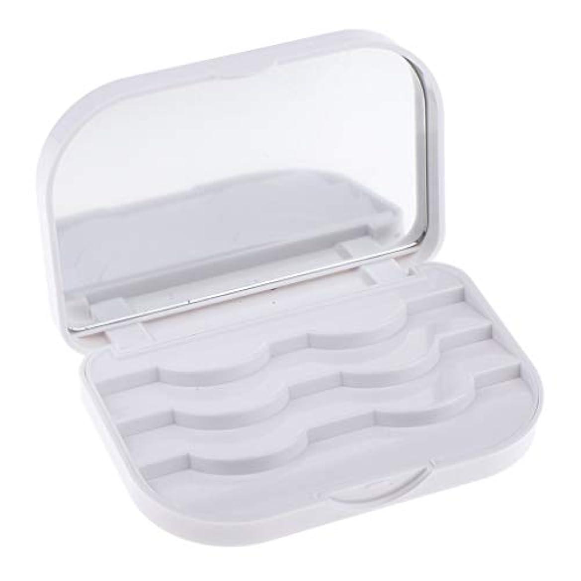クラシック時壁紙B Blesiya 全3カラー 化粧品収納ケース つけまつげ収納ケース ボックス ミラー付き - ホワイト