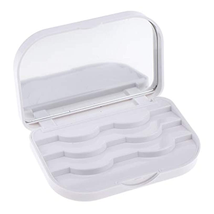 城どれ運動全3カラー 化粧品収納ケース つけまつげ収納ケース ボックス ミラー付き - ホワイト