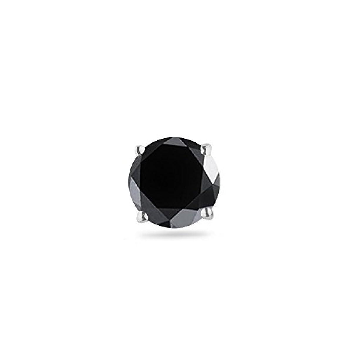 散文口ひげ入射クリスマスDeal – 1 / 4 ( 0.21 – 0.27 ) CTSの3.00 – 3.50 MM AAAラウンドブラックダイヤモンドメンズシングルスタッドイヤリングで14 kW gold-screw Backs