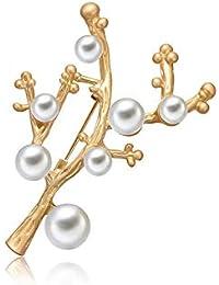 Fablcrew ブローチ 枝 パール 胸飾り レディース ピン ジュエリー エレガント 美しい アクセサリー コサージュ 入園式 入学式 卒園式 卒業式 結婚 フォーマ 記念式典