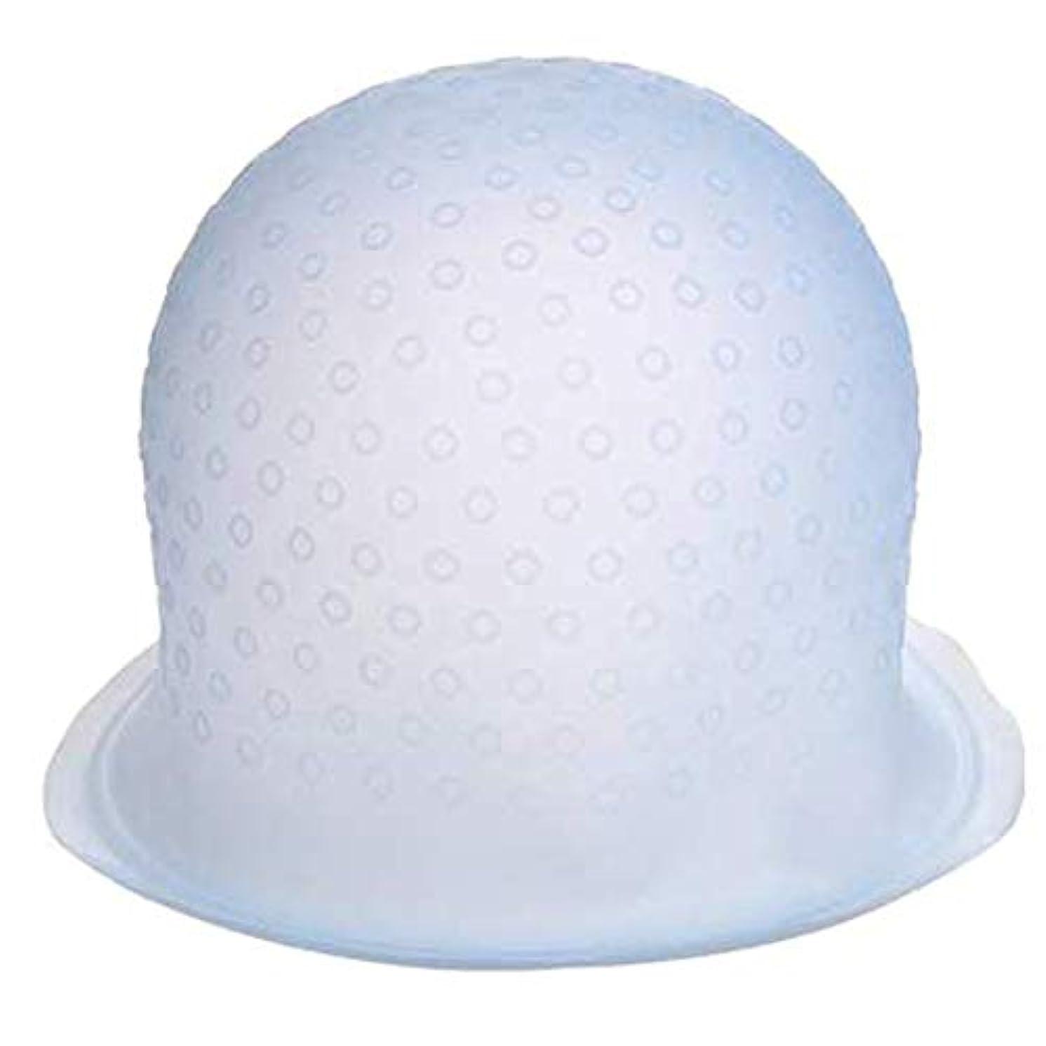毛染めキャップ シリコンキャップ メッシュキャップ ヘアダイブラシ ヘアカラー 部分染め 再利用可能 半透明 カラーリング 自宅 DIY かぎ針付き (白い)