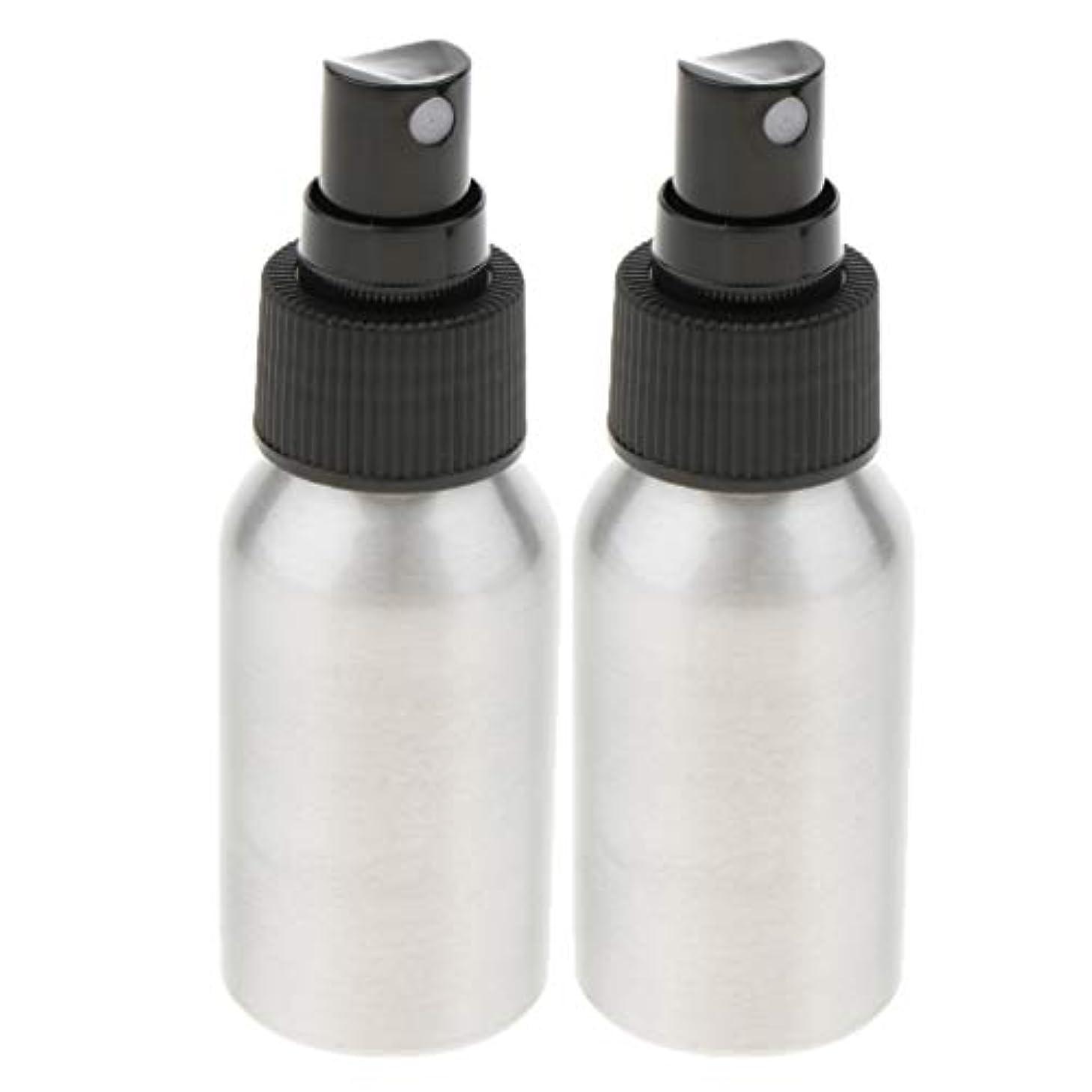アプト再編成する種をまくgazechimp アルミ 空の詰め替えボトル 香水ボトル メイクアップボトル 2個 2色選択 - ブラックキャップ