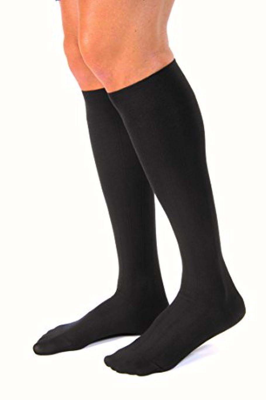 めまいが激怒後方Jobst 113120 for Men 20-30 mmHg Firm Casual Knee High Support Socks - Size & Color- Black Large Full Calf
