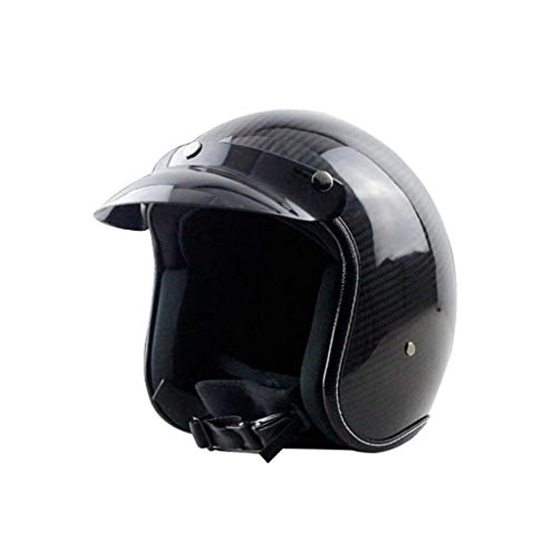 予報多年生確立ヘルメット オートバイヘルメット、カーボンファイバーレトロオートサイクルヘルメット男性女性オールラウンドサイクリングヘルメットモト電気自動車ハーフヘルメットA