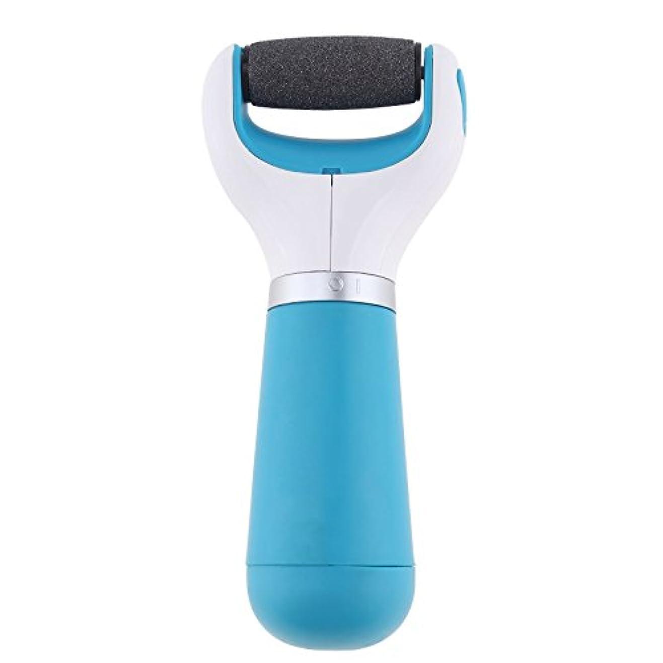 戸棚分注するどうやって電動角質リムーバー 乾電池式 角質やすり 角質取り 角質除去ローラー 角質ケア フットケア かかと 足の裏 つま先 つるつるスムーズ 携帯便利 ブルー