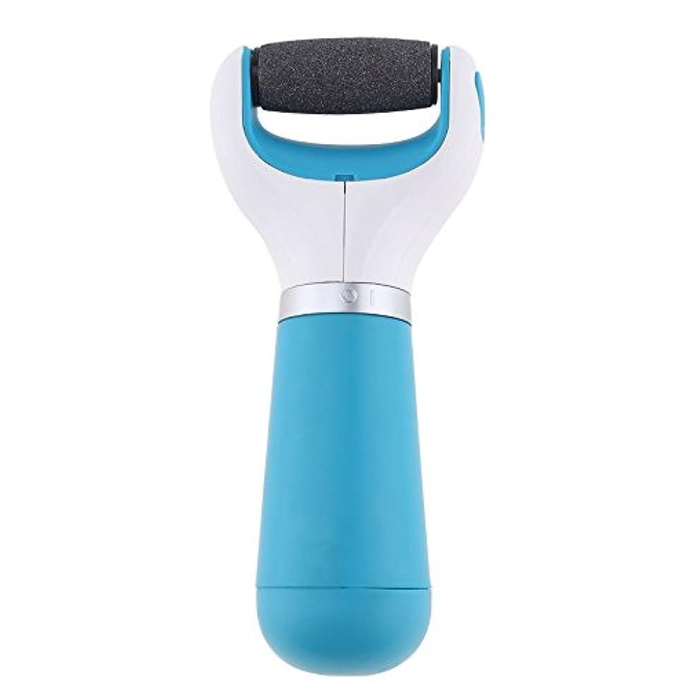 春振幅ベンチャー電動角質リムーバー 乾電池式 角質やすり 角質取り 角質除去ローラー 角質ケア フットケア かかと 足の裏 つま先 つるつるスムーズ 携帯便利 ブルー