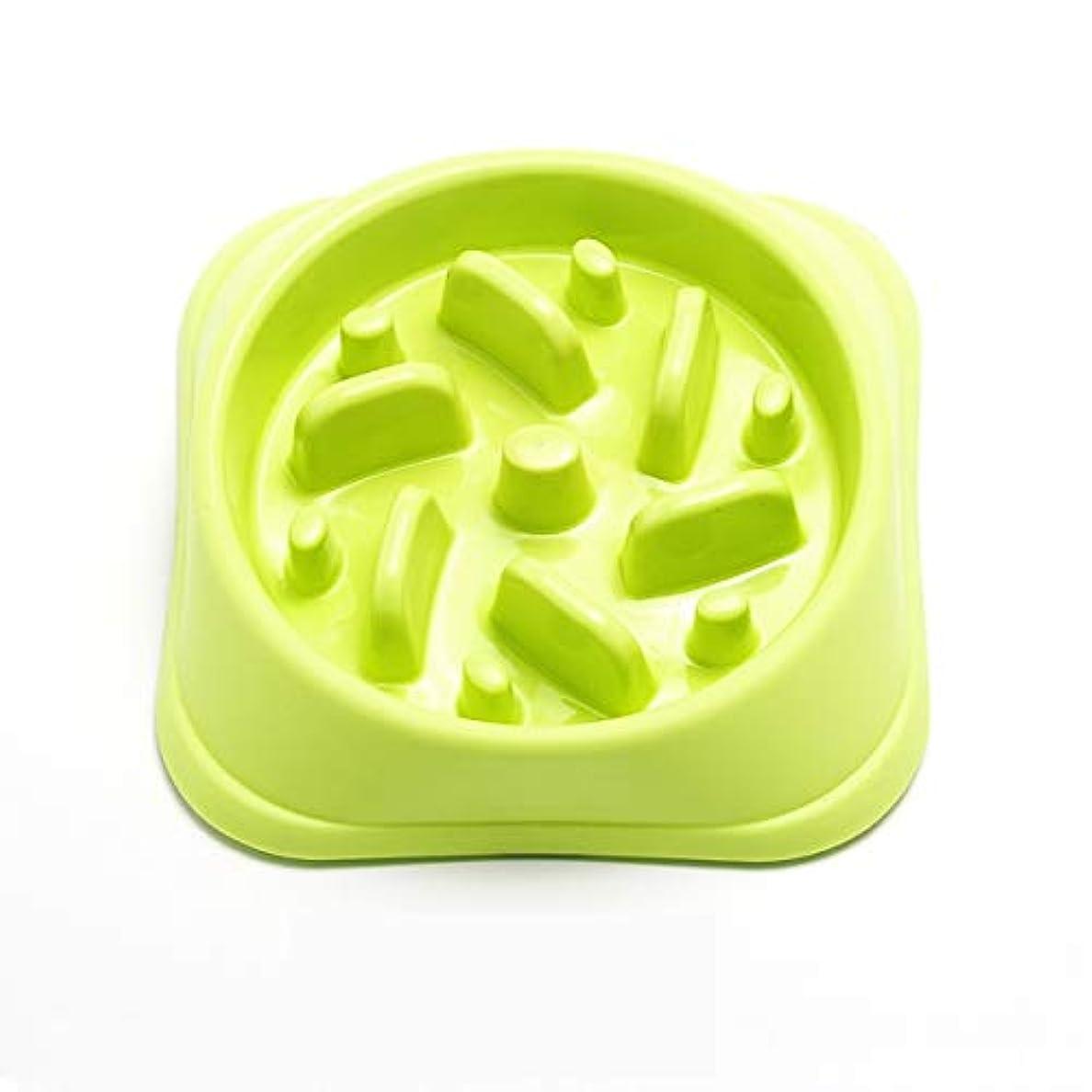 Xian 犬のボウル、スマッシュ防止スローフィードキャットボウル犬のボウル、犬用品、ペットフィーダー、ペットボウル、シングルボウルドッグフードボウル、ブルー、グリーン、パウダー、3色 Easy to Clean Non-Skid Bowls for Dogs (Color : Green)
