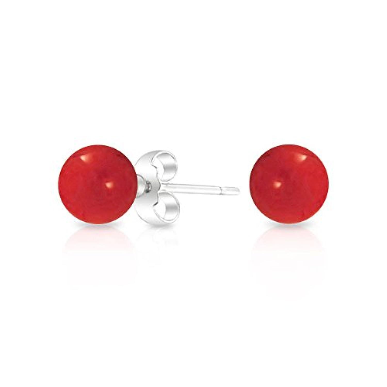 染赤のシミュレートされたコーラルボール女性 925 スターリングシルバー 10 mm の丸型スタッドイヤリング