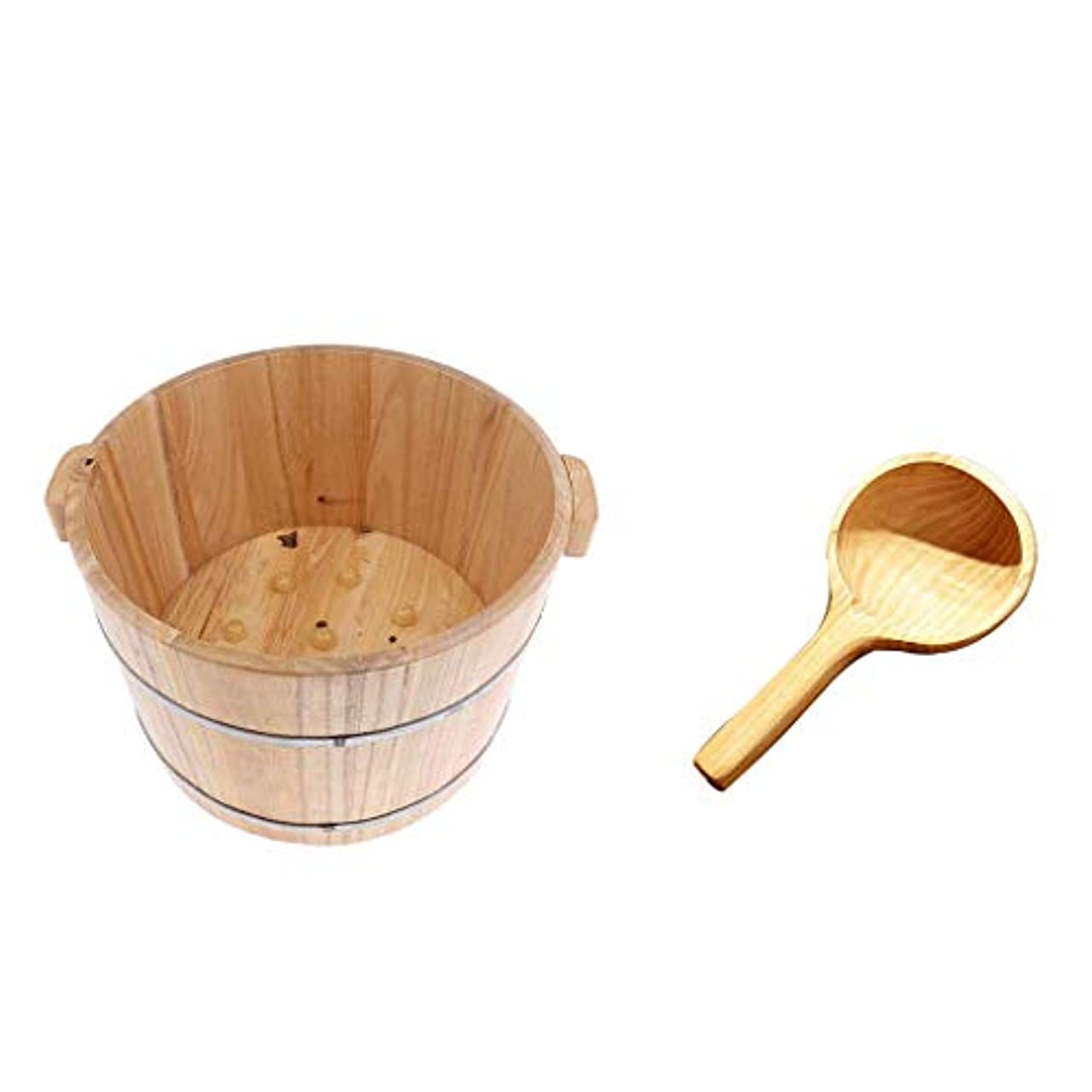 dailymall フットスパバスベイスンバスタブフィート浸漬洗浄バケツバレルW/ウッドウォータースクープ