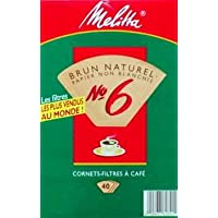 Melitta Cone Coffee Filters Natural Brown Unbleached No. 6 40 Count by Melitta